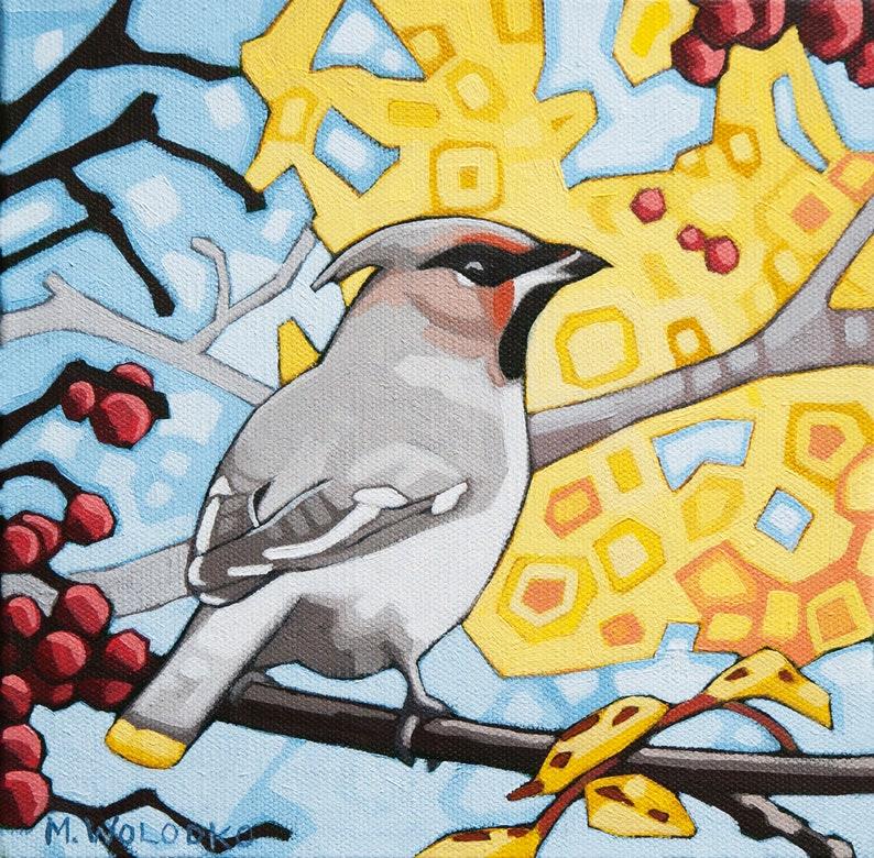 Bird Art Print 8 x 8  Cedar Waxwing image 0