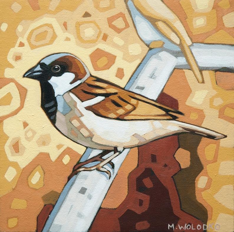 Bird Art Print 8 x 8  House Sparrow image 0