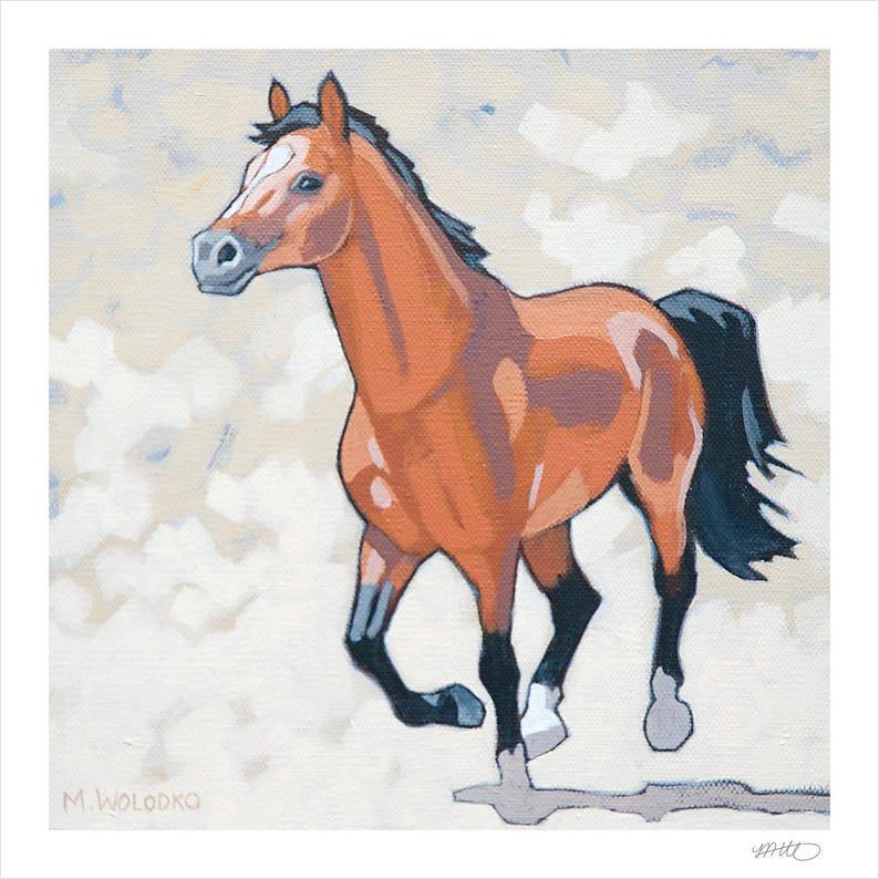 Horse Art Print 8 x 8  Bay image 0