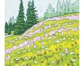 """Landscape Art Print, 8"""" x 8"""" - Sun Peaks Meadow"""