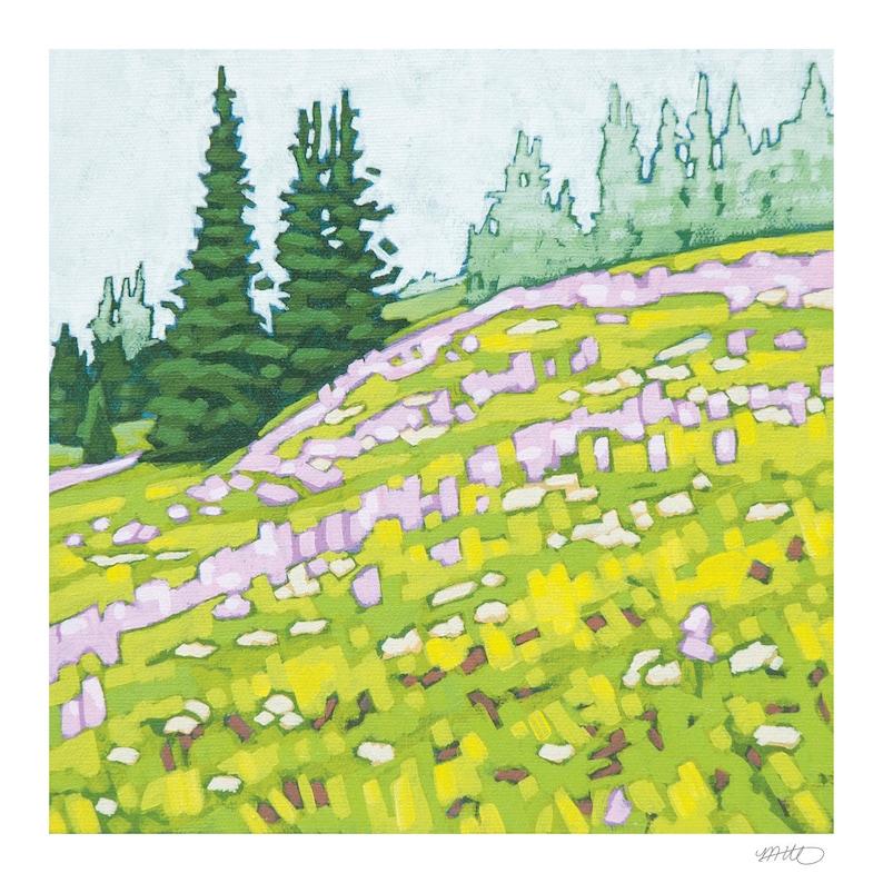 Landscape Art Print 8 x 8  Sun Peaks Meadow image 0