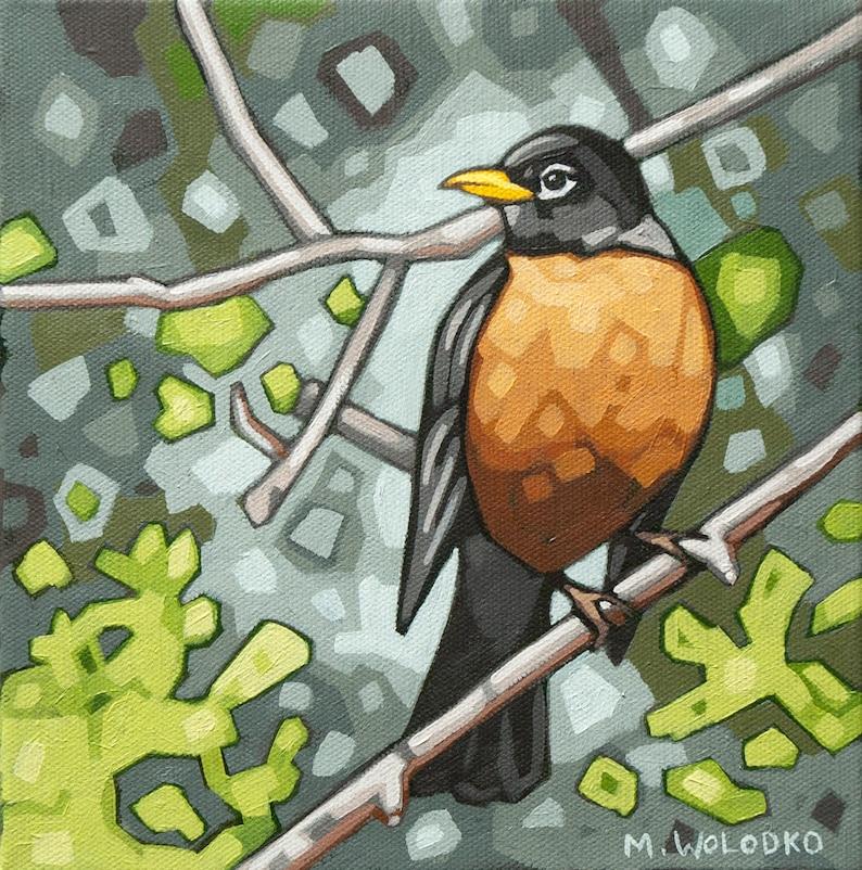 Bird Art Print 8 x 8  Robin image 0