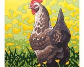 """Chicken Art Print, 8"""" x 8"""" - Buttercup"""
