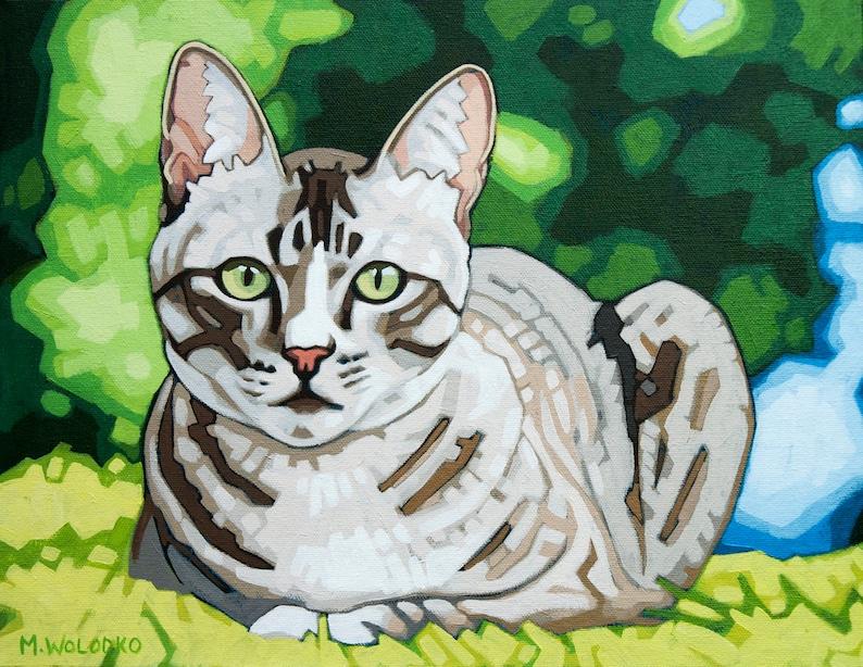 Cat Art Print  11 x 14 Green Eyes image 0