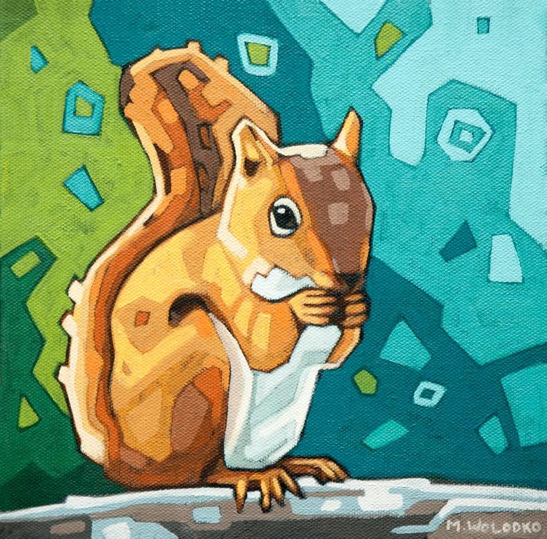 Squirrel Art Print 8 x 8 image 0