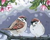 """Bird Art Print, 8"""" x 8"""" - Sparrows and Pink Blossoms"""