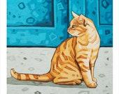 """Cat - Art Print, 8"""" x 8"""" """"The Blue Door"""""""