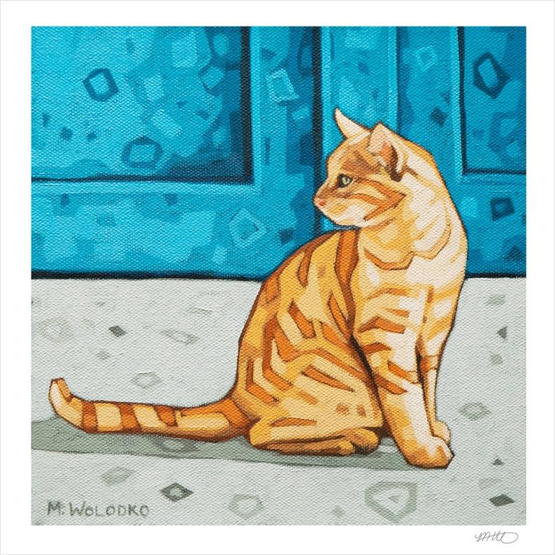 Cat  Art Print 8 x 8 The Blue Door image 1