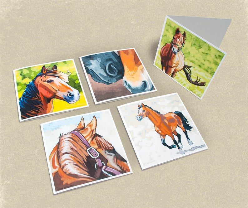 Horse Greeting Cards  Set of 5 image 0