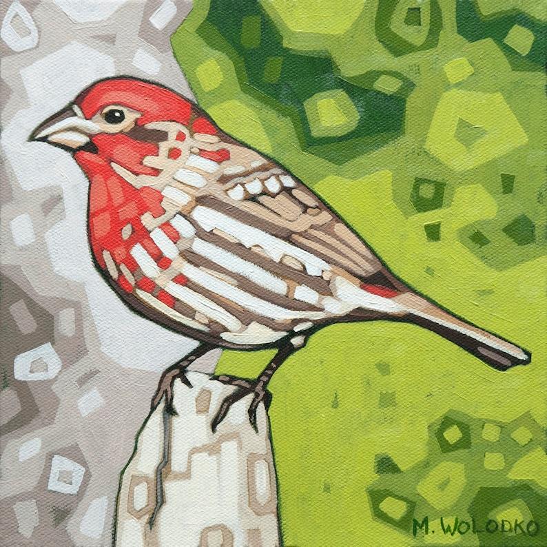 Bird Art Print 8 x 8  House Finch image 0