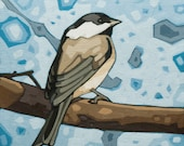 "Bird Art Print, 8"" x 8"" - Black-capped Chickadee (blue)"