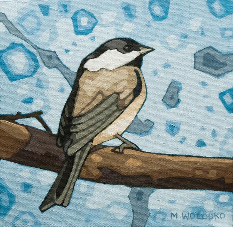 Bird Art Print 8 x 8  Black-capped Chickadee image 0