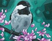 "Bird Art Print, 8"" x 8"" - Chickadee and Blossoms"