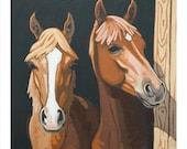"Horse Art Print, 8"" x 8"" - Brothers"