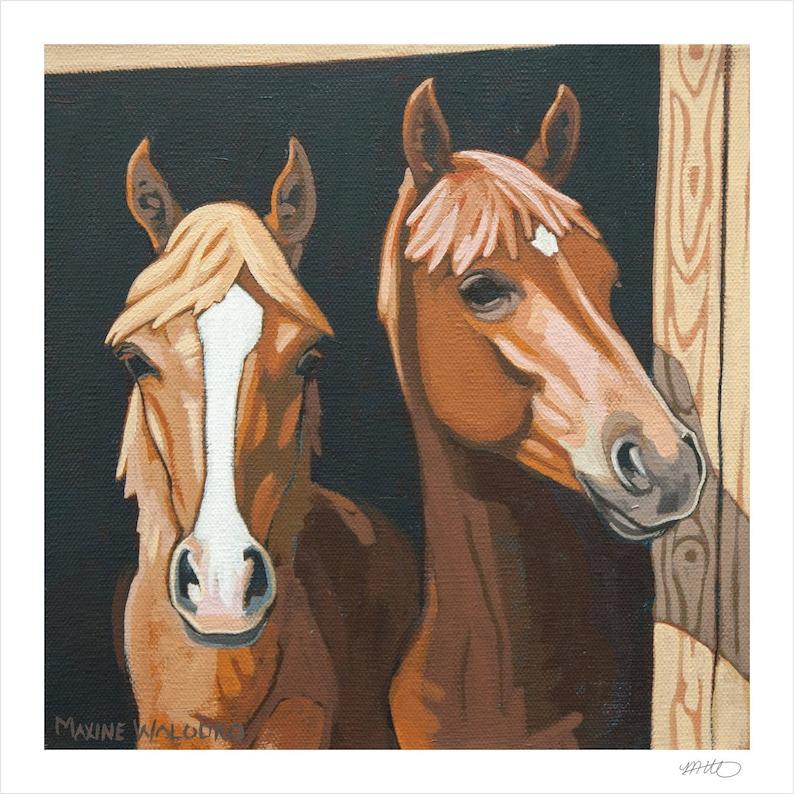 Horse Art Print 8 x 8  Brothers image 1