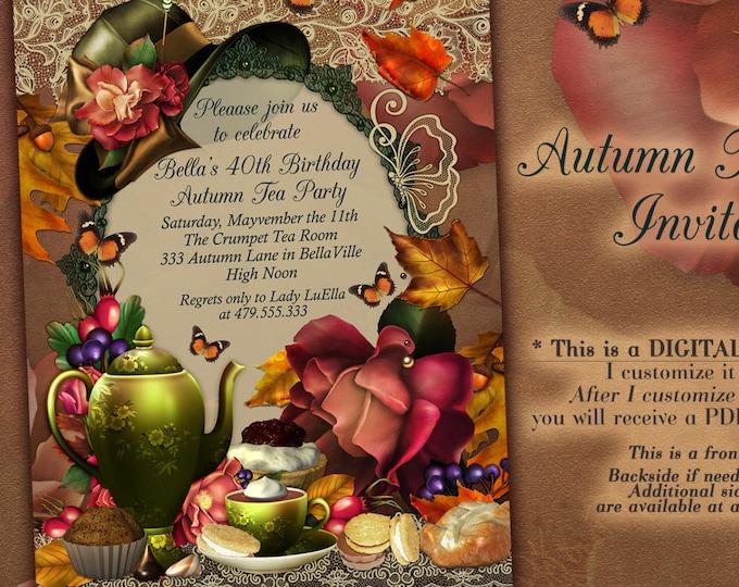 Fall Tea Party Invitation, Autumn Bridal Tea Party, Garden Tea Party, Party Invitations, Tea Party