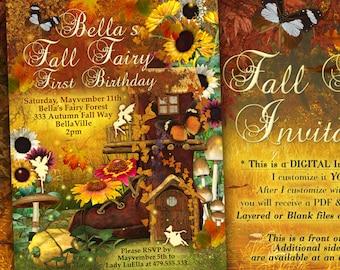 Fairy Invitation, Fall Fairy Party Invitation, Autumn Faery, Fall Festival