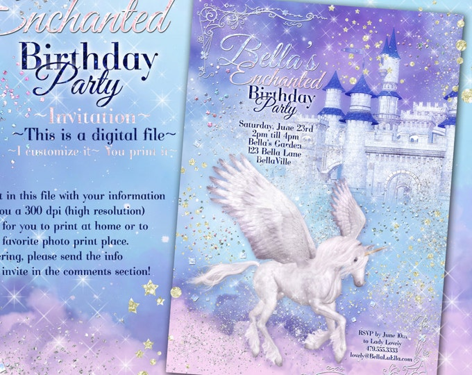 Unicorn Party Invitation, Birthday Party Invitations, Magic Unicorn Party, Unicorn Invitations