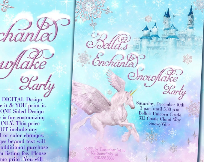 Snow Unicorn Party Invitation, Snowflake Unicorn Party, Winter Unicorn Party Invite, Snowflake Castle