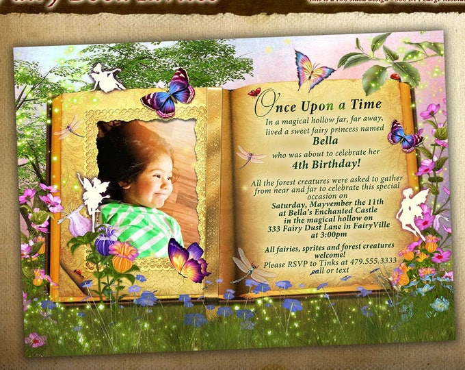 Photo Storybook Party, Photo Fairytale Party Invitations, Storybook Photo Fantasy Party Invitations,