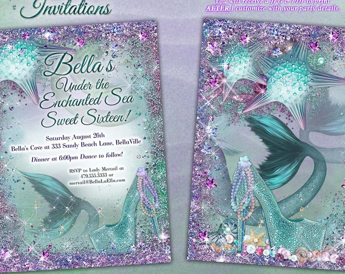Mermaid, Mermaid Invitations, Mermaid Party, Under the Sea Invitations, Sweet 16, Mis Quince Anos