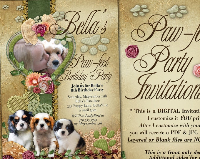 Birthday Photo Card Invitation, Puppy Photo Card, Dog Invitation, Girls Puppy Party