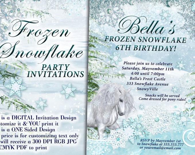 Snowflake Horse Party Invitation, Winter Birthday Party, Snowflake Horse Invitation