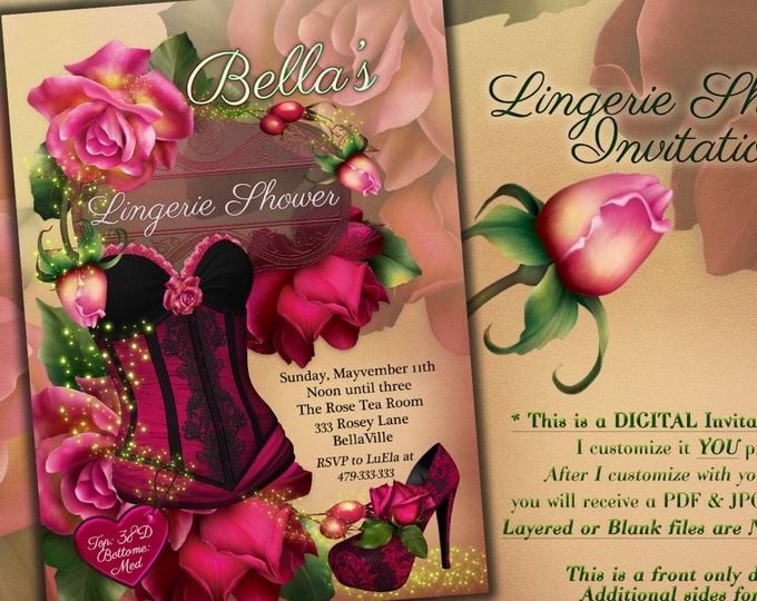 Lingerie Shower Invitation, Bachelorette Party, Bridal Shower, Corset Invitations, Burlesque Invitations