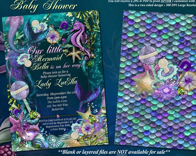 Under the Sea Baby Shower Invitation, Enchanted Seas Shower, Baby Shower Invitation