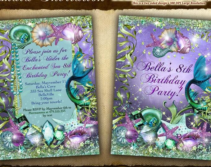 Mermaid Invitations, Mermaid Quince Años Party, Mermaid Pool Party, Mermaid Sweet 16 Birthday Party Invitations