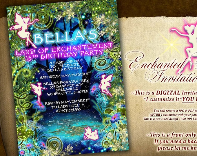 Fairy Forest Invitation, Magical Fairy Party Invitation, Birthday Party Invitations, Fairy Garden Party, Whimsical Invitations