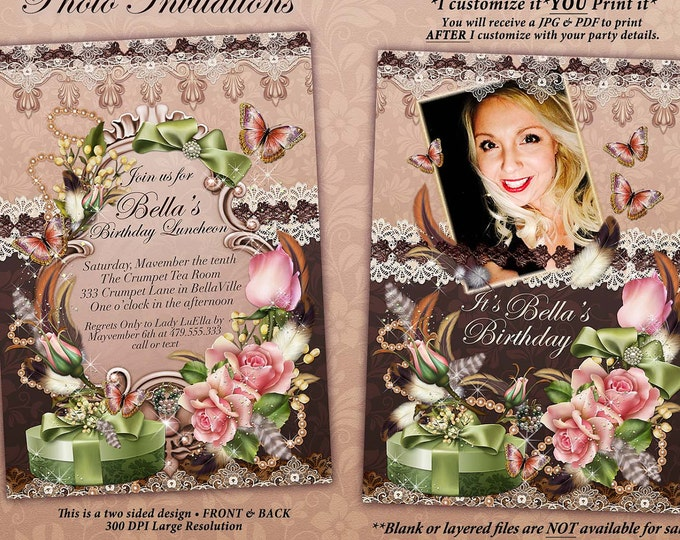 Photo Invitation Cards, Ladies Birthday Invitations, Photo Birthday Card