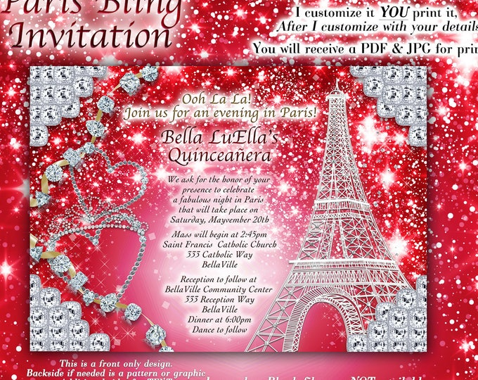 Paris Bling Invitation, Sweet 16 Invitation, Quinceanera, Paris Party Invitations