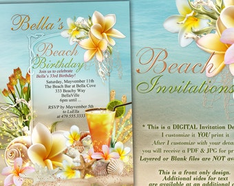Beach Theme Party Invitation, Beach Birthday Invitation, Luau Party