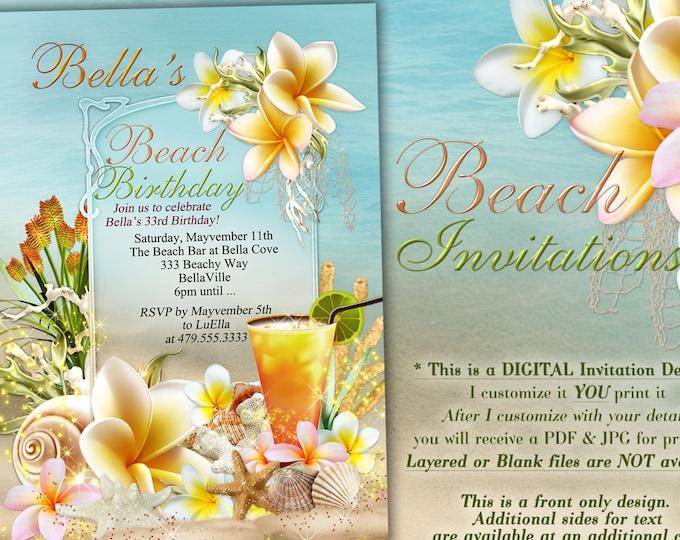 Beach Theme Party Invitation, Beach Birthday Invitation, Luau Party