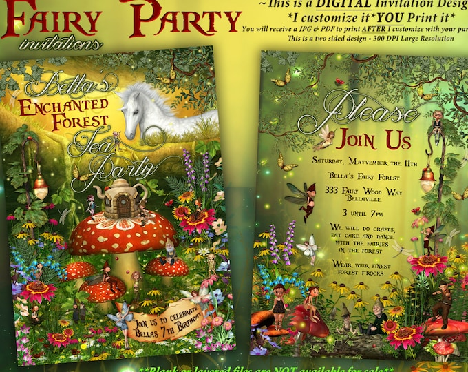 Fairytale Forest Party, Enchanted Wood Invitation, Unicorn Tea Party
