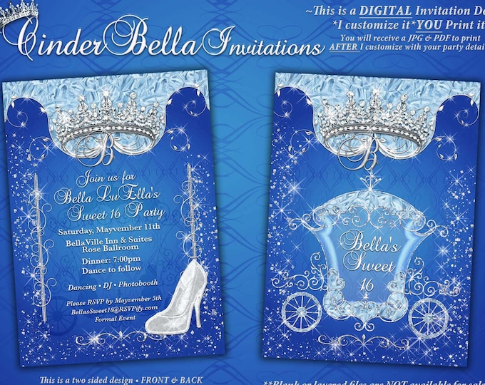 CinderBella Invitations, Quinceanera Invitation, Sweet 16 Birthday, Bling Carriage Invitations
