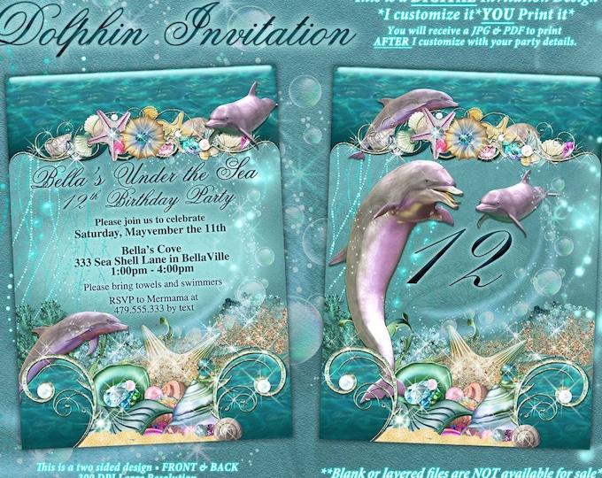 Dolphin Under the Sea Party Invitations, Under the Sea Birthday