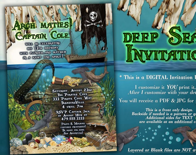 Shark and Pirate Invitations, Deep Sea Birthday Party, Marine Adventure Birthday