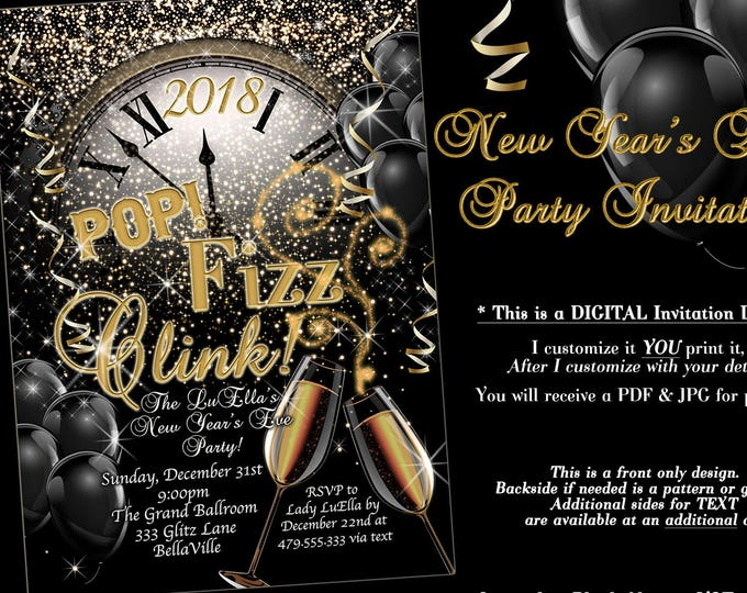 New Years Eve Party Invitation, Champagne Invitation