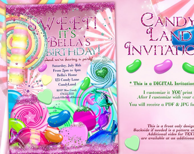 Glitter Candy Land Birthday Party Invitation, Glitter Birthday Party Invitations, Candy Party, Pink Candy Party Invitations