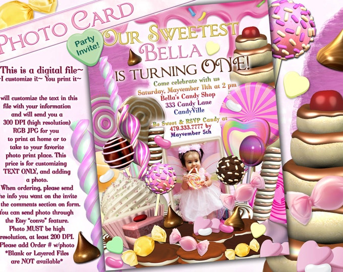 Photo Card, Candy Land Photo Invitation, Birthday Party Invitations, CandyLand Invitations, Candy Photo Card