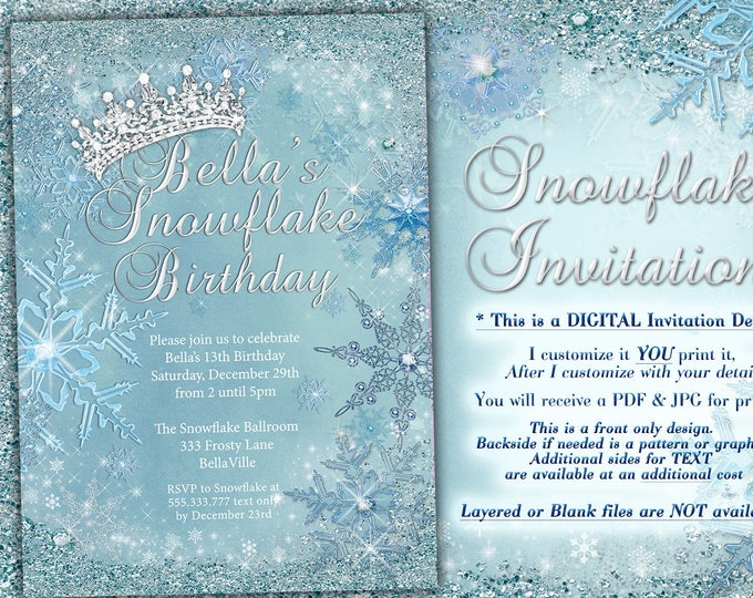 Princess Frozen Winter Wonderland Party, Winter Snowflake Invitation, Winter Sweet 16, Snow Ball, Mis Quince Anos, Quinceanera, Snow Tiara