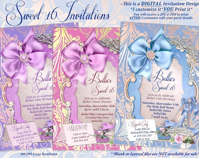 Sweet 16 Invitations, Quinceanera, Mis Quince Anos, Birthday Party Invitations