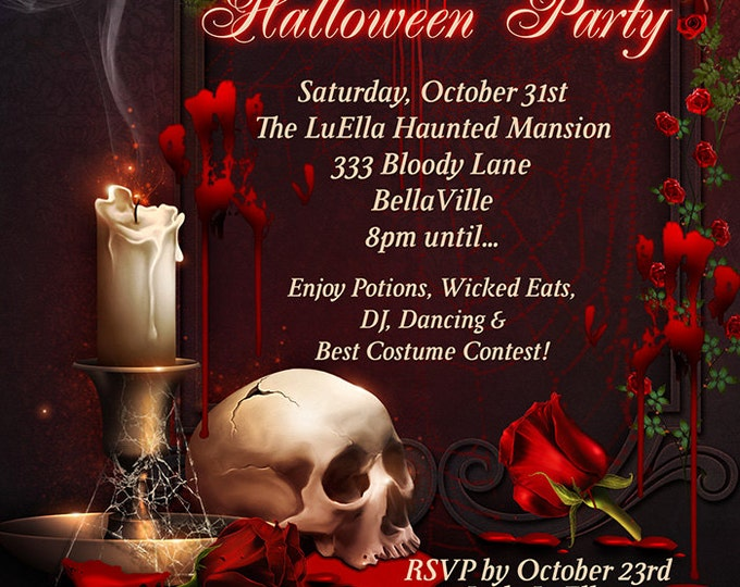 Blood Roses Halloween Invitations, Halloween Party Invitations, All Hallows Eve