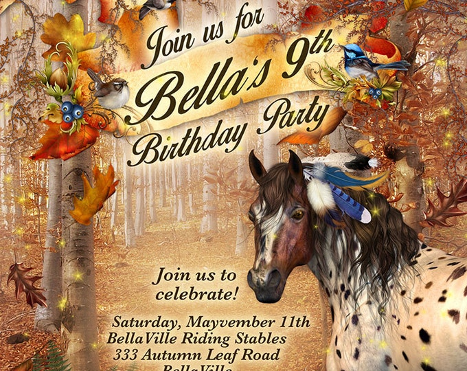Autumn Horse Birthday Party Invitation, Fall Horse Card, Pony Party Invitations, Horse Birthday Party Invitation