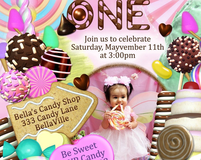Photo Card, Candy Land Photo Invitation, Birthday Party Invitations, CandyLand Invitations, Candy Photo Party Invitation