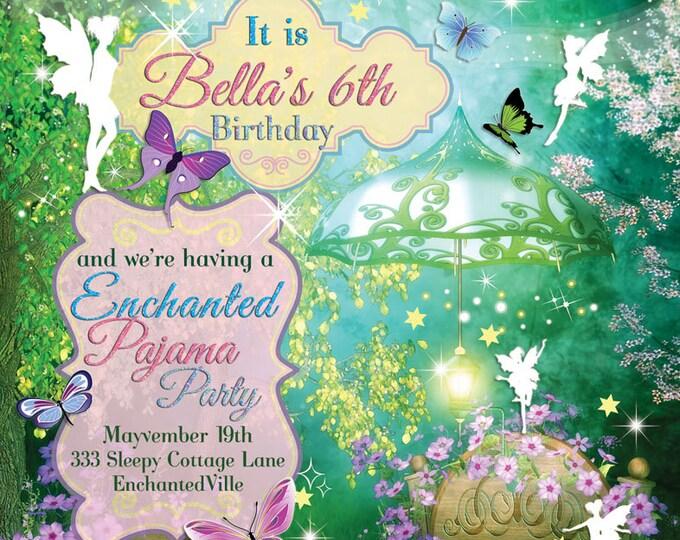 Fairy Slumber Party, Pajama Birthday Party Invitation, Sleepover Party, Enchanted Slumber Party, Pajama Party Invites