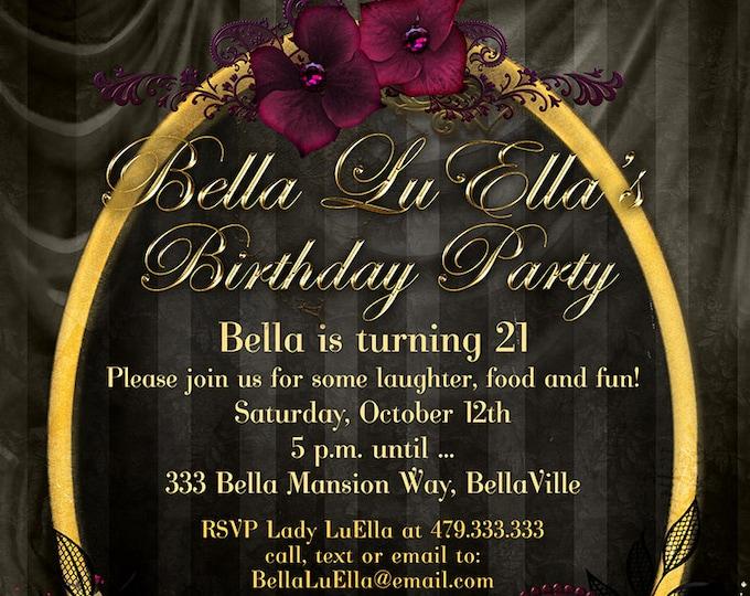 Goth Birthday Party Invitation, Gothic Party Invitations