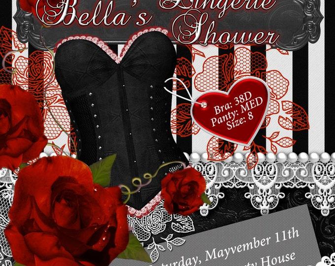 Red Rose Black Lingerie Shower Invitation, Bachelorette Party, Bridal Shower, Party Invitations, Corset Invitations, Burlesque Invitations